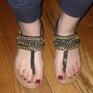 Shoes - Gold Chained Flip Flops